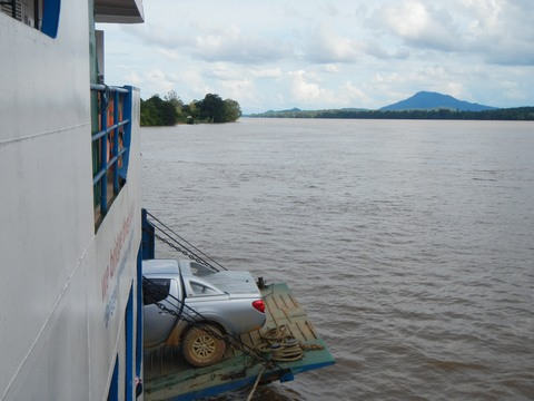 On the ferry approaching Pontianak